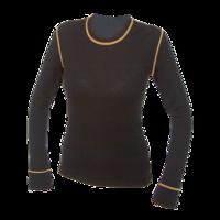 Dámské funkční triko Merino 210 dlouhý rukáv černé s oranž švy