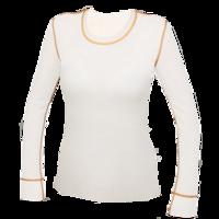 Dámské funkční triko Merino 210 dlouhý rukáv přírodní, oranž švy