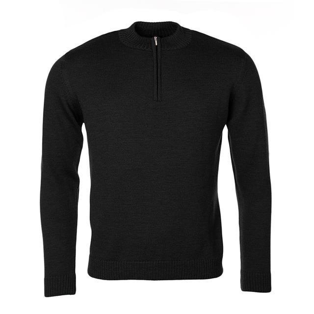 Pánský vlněný svetr se zipem Merino Extra Fine - Black Night - 1