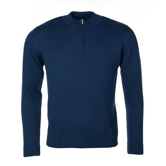 Pánský vlněný svetr se zipem Merino Extra Fine - Navy Blue - 1