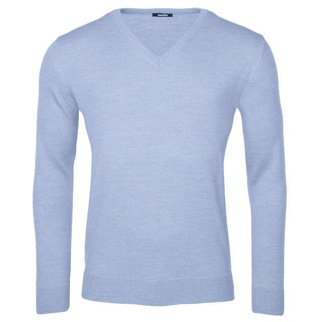 Pánský vlněný V pulovr Merino Extra Fine - Grey - 1