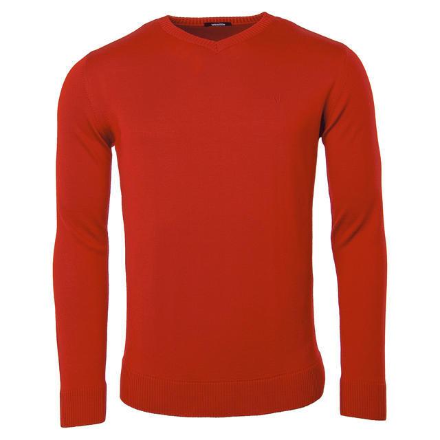 Pánský vlněný V pulovr Merino Extra Fine - Red - 1