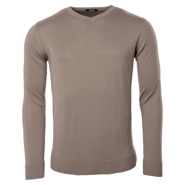 Pánský vlněný V pulovr Merino Extra Fine - Brown - 1