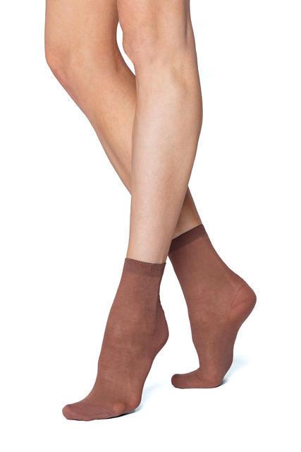 Ponožky jemné bavlněné dámské 2 páry hnědá - 1