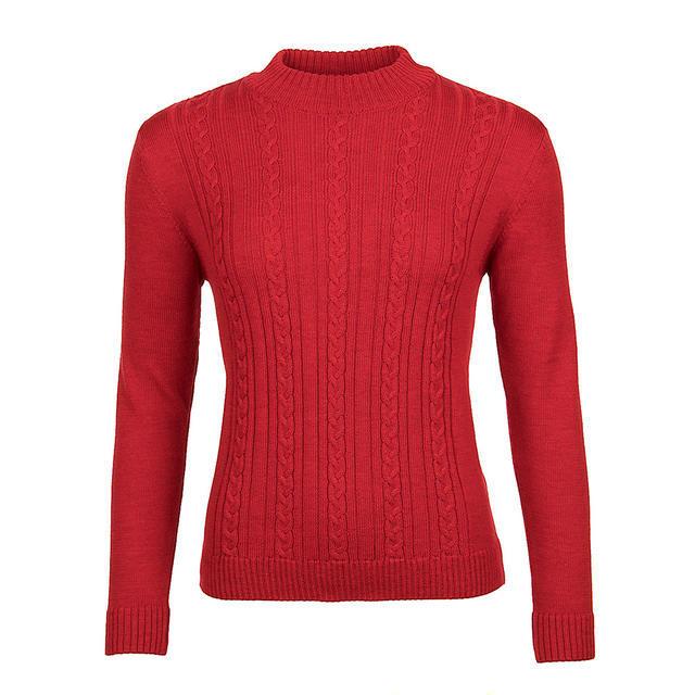 Dámský vlněný svetr se vzorem Merino Extra Fine – Autumn Red - 1