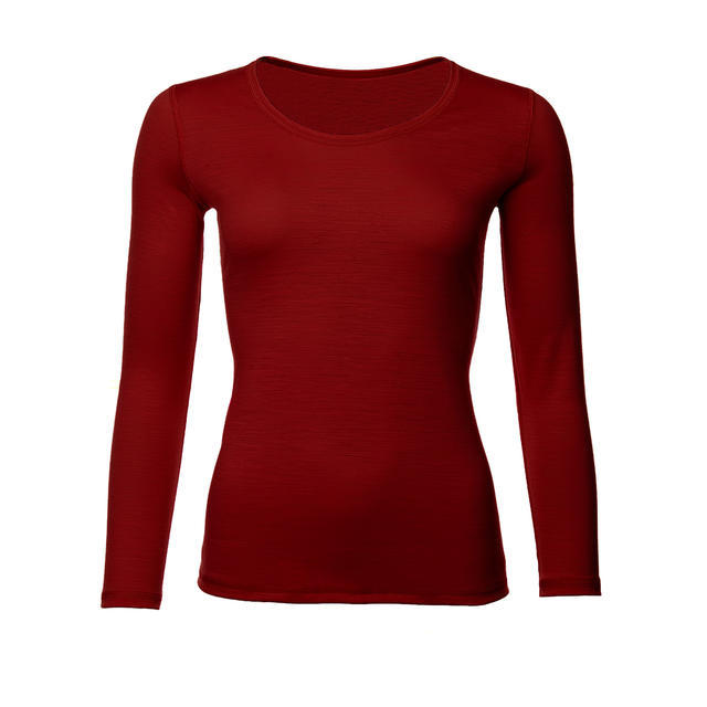 Dámské funkční triko Merino 140 dl.rukáv cihlově červená L, L - 1