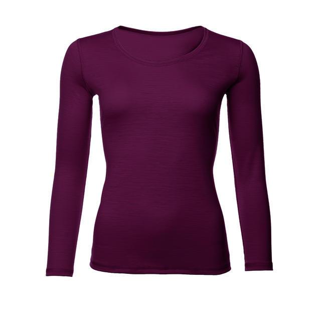 Dámské funkční triko Merino 140 dl.rukáv fialová švestka L, L - 1