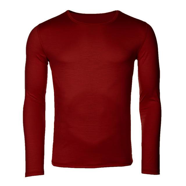 Pánské funkční triko Merino 140 dl.rukáv cihlově červená - 1