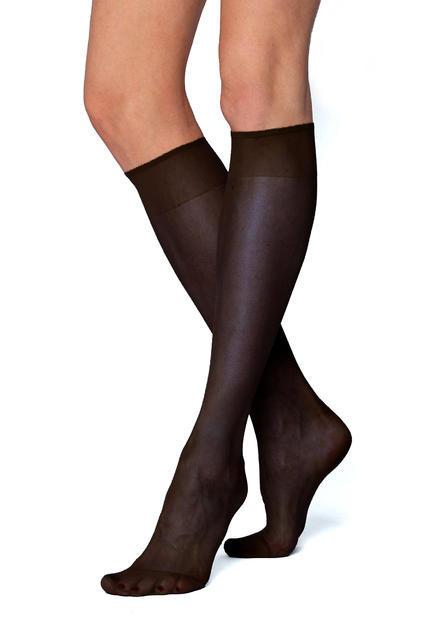 Podkolenky jemné dámské elastické 2 páry vel.25 barva 999 černá, 25 - 1