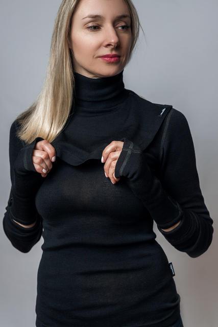 Vlněný dámský ledvinový pás Merino 240 černý L, L - 2
